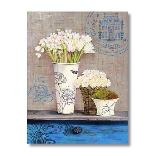 Ritmo-Beyaz Çiçekler Kanvas Tablo