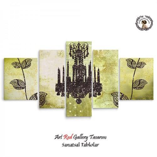 Artred Gallery 5 Parçalı Avize Kanvas 125X56 Tablo