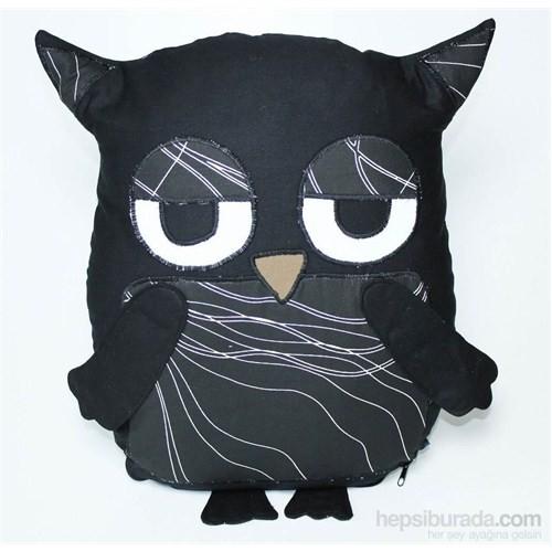 Yastıkminder Koton Siyah Çizgili Göbekli Baykuş Yastık