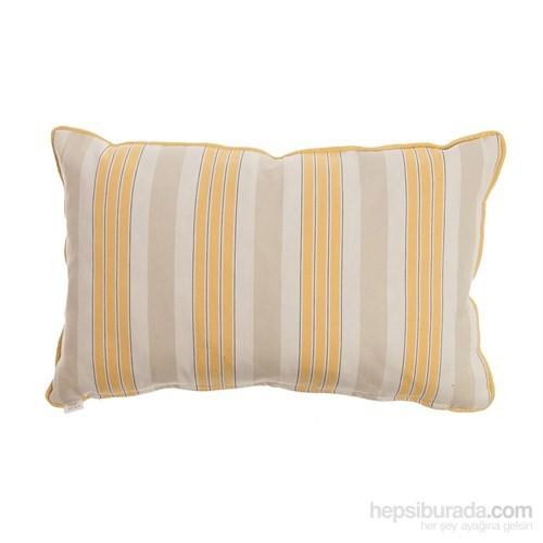 Yastıkminder Koton Sarı Beyaz Çizgili Dekoratif Yastık