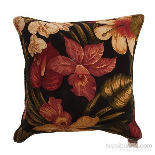 Yastıkminder Koton Siyah Taba Çiçekler Dekoratif Yastık