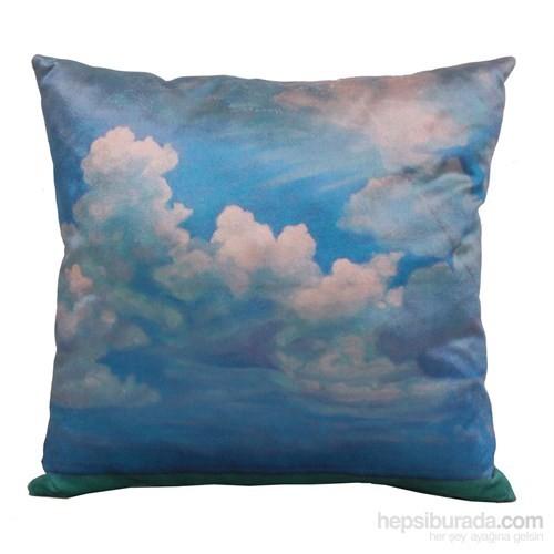 Yastıkminder Kadife Keten Mavi Beyaz Gökyüzü Dijital Baskı Dekoratif Yastık