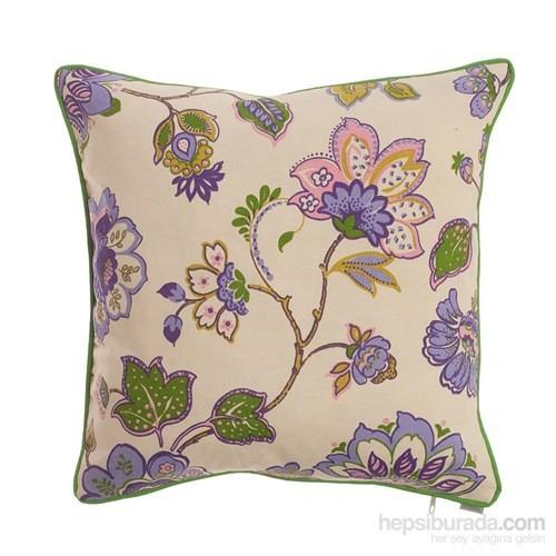 Yastıkminder Koton Mor Mavi Çiçekler Dekoratif Yastık
