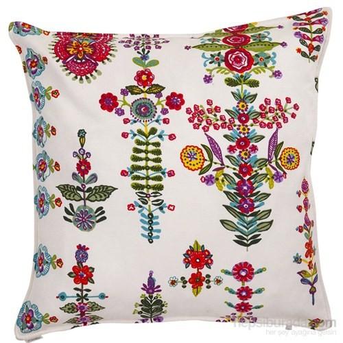 Yastıkminder Koton Kırmızı Mavi Çiçekler Dekoratif Yastık