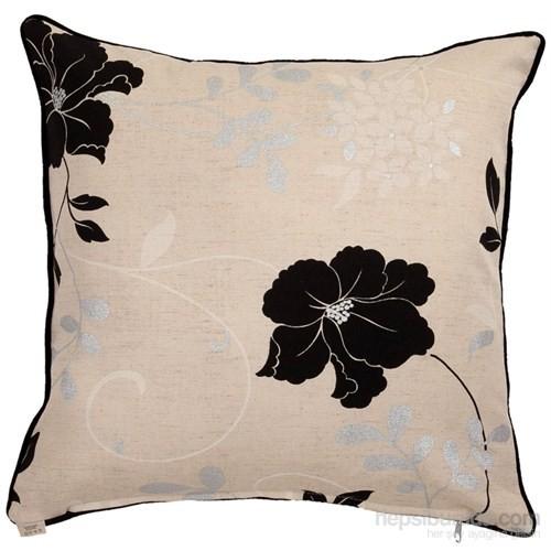 Yastıkminder Koton Siyah Kum Çiçekler Dekoratif Yastık