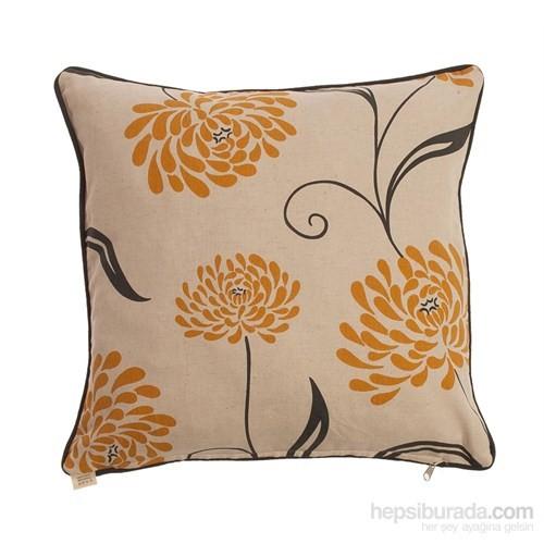 Yastıkminder Koton Kum Sarı Füme Çiçek Desen Dekoratif Yastık