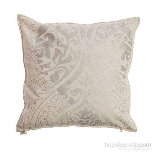 Yastıkminder Koton Gümüş Beyaz Damask Desen Dekoratif Yastık