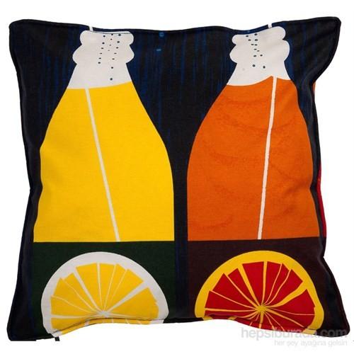 Yastıkminder Koton Lacivert Oranj Harfler Dekoratif Yastık
