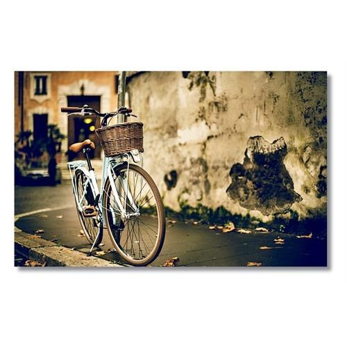 Tictac Mavi Bisiklet Kanvas Tablo - 60X120 Cm