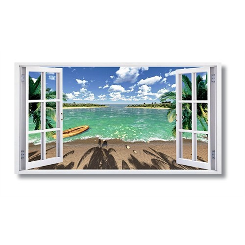 Tictac Pencere Kanvas Tablo - 40X80 Cm - 40X80 Cm