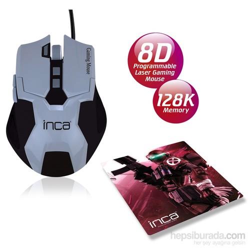 Inca IMG-316GS 4000DPI 8D 128K Laser Oyuncu Mouse + Oyuncu MousePad Hediyeli