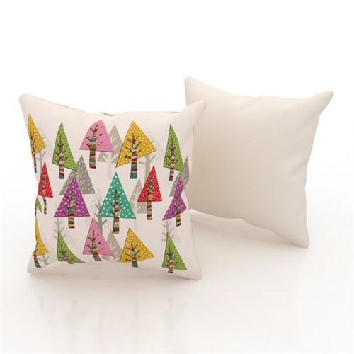 Erenev 9197 Renkli Ağaçlar Dekoratif Yastık