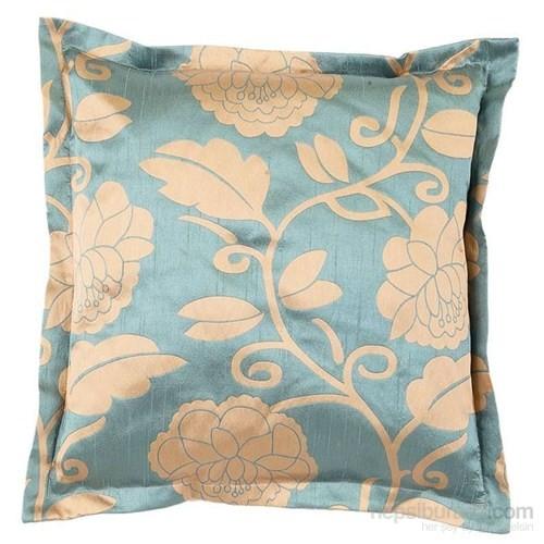 Yastıkminder Tafta Mavi Bej Çiçekler Kulaklı Dekoratif Yastık