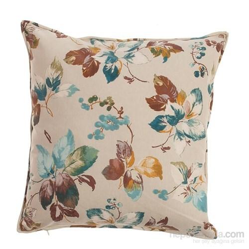 Yastıkminder Koton Kum Renk Zemin Çiçekler Dekoratif Yastık
