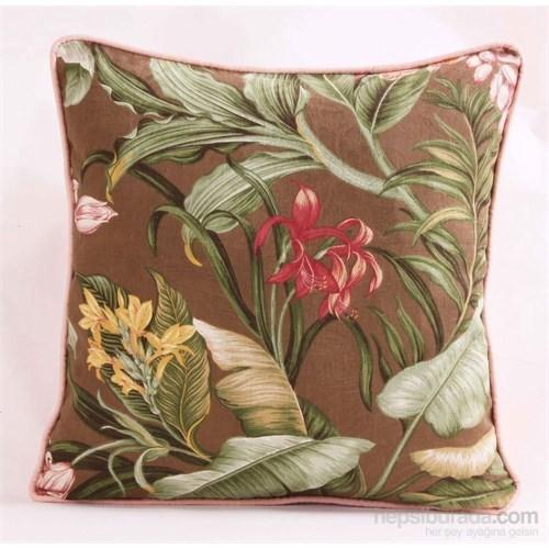 Yastıkminder Koton Kahve Tropik Çiçekler Pembe Fitilli Dekoratif Yastık