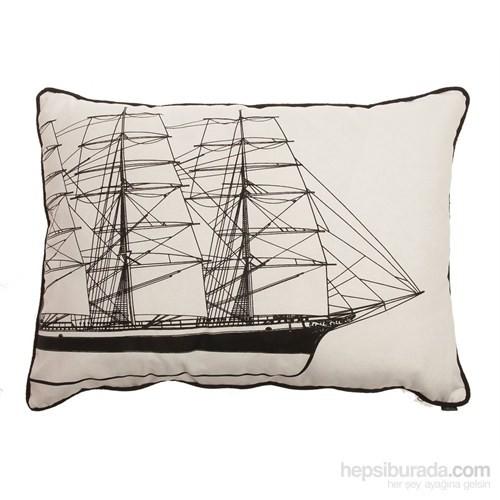 Yastıkminder Koton Siyah Beyaz Yelken Yat Desenli Yastık