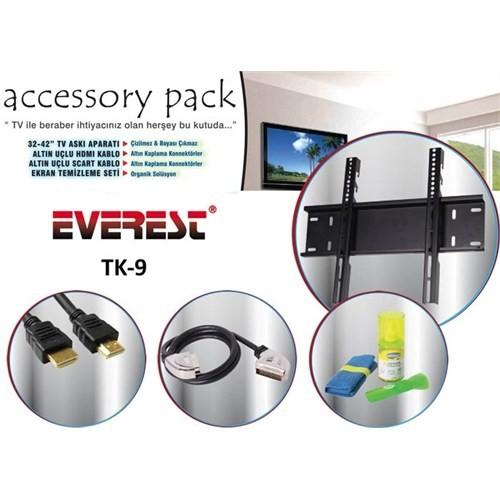 Everest TK-9 Temizleme Set + Askı Aparatı HDMI + Scart Kab.