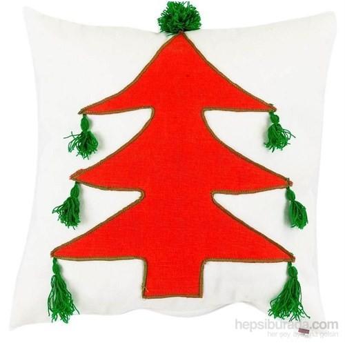 Yastıkminder Koton Beyaz Kırmızı Büyük Ağaç Aplıke Dekoratif Yastık