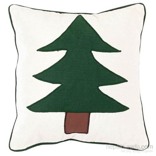 Yastıkminder Koton Beyaz Yeşil Büyük Ağaç Aplıke Dekoratif Yastık