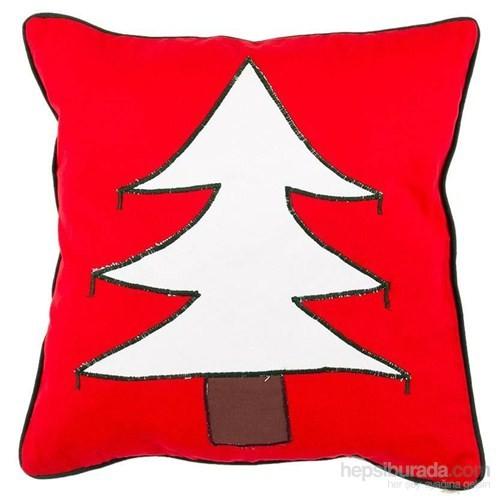 Yastıkminder Koton Kırmızı Beyaz Ağaç Aplike Dekoratif Yastık