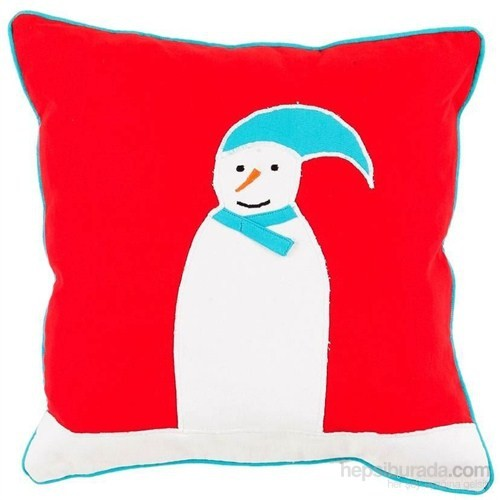 Yastıkminder Koton Kırmızı Kardan Adam Dekoratif Yastık