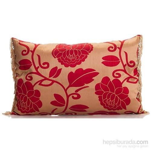 Yastıkminder Tafta Bej Kırmızı Ottoman Osmanlı Gül Kaftan Dekoratif Yastık