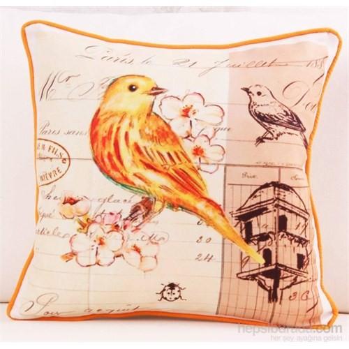 Yastıkminder Polyester Koton Oranj Kuş Baskılı Dekoratif Yastık