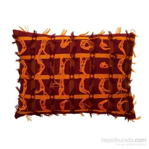 Yastıkminder Koton Oranj Bordo Dokuma Dekoratif Yastık