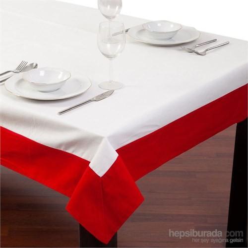 Yastıkminder Koton Beyaz Kırmızı Bantlı Kumaş Kare Masa Örtü