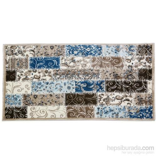 Rixos Home Patchwork 80X300 Cm Polipilen Halı Mavi Çiçek