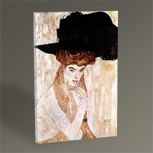 Tablo 360 Gustav Klimt Siyah Tüylü Şapka Tablo 45X30