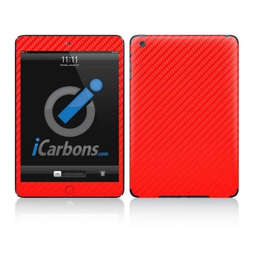 İcarbons Apple Ipad Mini 3G / 3M Kırmızı Karbon Kaplama Kılıf
