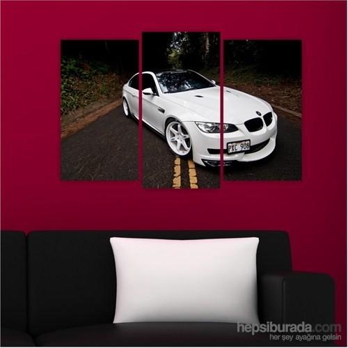Dekoriza Bmw 3.20 Beyaz Spor Araba 3 Parçalı Kanvas Tablo 80X50cm