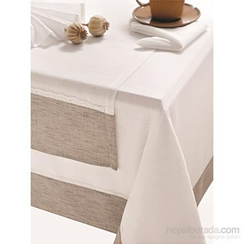 Issimo Home 160x160 Masa Örtüsü - Noa Beyaz (Peçete Seti Hediyeli)
