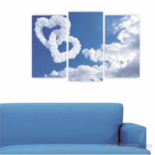 Dekoriza Kalpli Bulutlar 3 Parçalı Kanvas Tablo 80X50cm