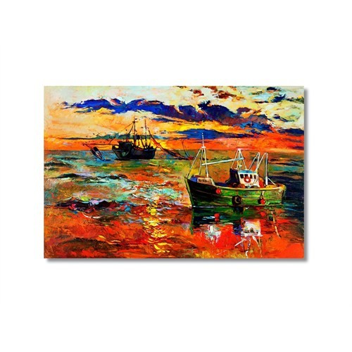 Tictac Balıkçı Tekneleri Kanvas Tablo - 50X75 Cm