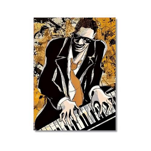 Tictac Jazz Pianist Kanvas Tablo - 40X60 Cm