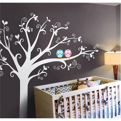 Bestasticker Beyaz Ağaç Baykuşlar Sticker