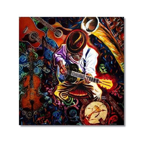 Tictac Gitarist Ve Enstrümanlar Kanvas Tablo - 70X70 Cm