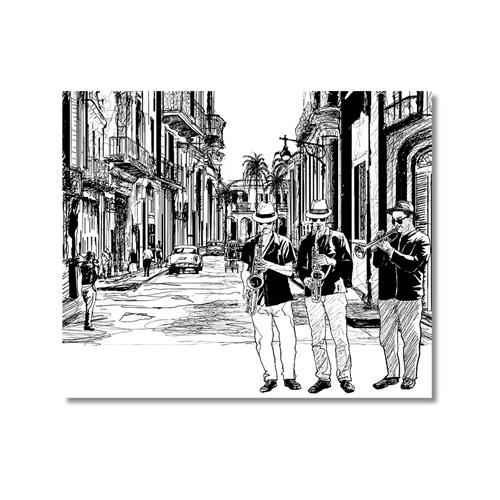 Tictac Sokakta Jazz Kanvas Tablo - 70X70 Cm
