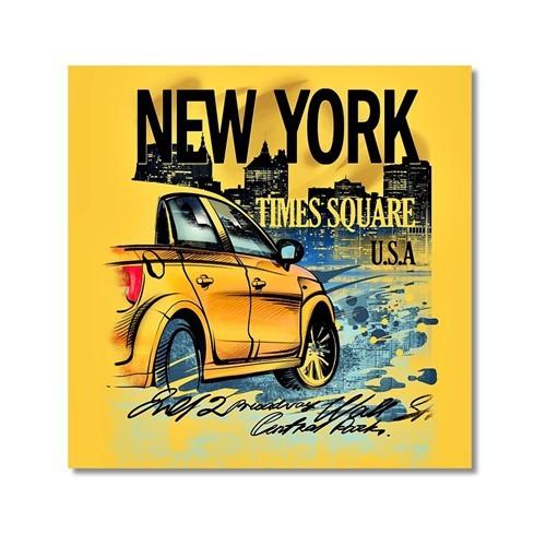Tictac New York Taksi Kanvas Tablo - 60X60 Cm