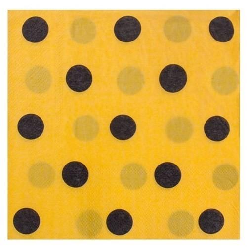 Pandoli Kağıt Parti Peçetesi 33 Cm Sarı Siyah Puantiyeli 20 Adet
