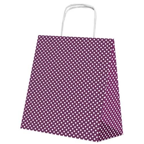 Pandoli Violet Beyaz Puantiyeli 25 Adet Kraft Hediye Dağıtma Poşeti 24 Cm