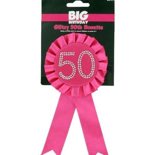 Parti Paketi 50 Yaş Taşlı Pembe Rozet