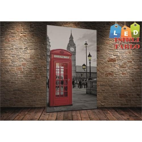 Tablo İstanbul Londra Telefon Kulubesi Led Işıklı Kanvas Tablo 45 X 65 Cm