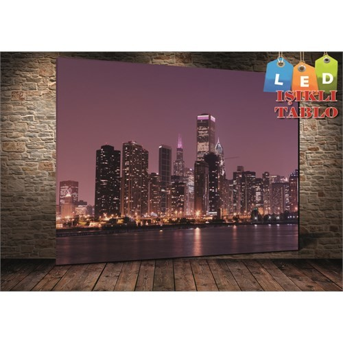 Tablo İstanbul New York Mor Işıklı Led Kanvas Tablo 45 X 65 Cm