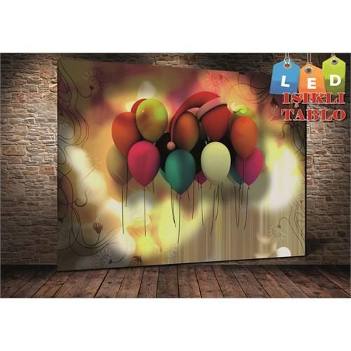 Tablo İstanbul Balonlar Led Işıklı Kanvas Tablo 45 X 65 Cm