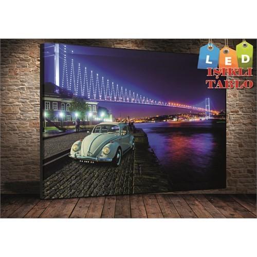 Tablo İstanbul İstanbul Boğaz Araba Led Işıklı Kanvas Tablo 45*65 Cm