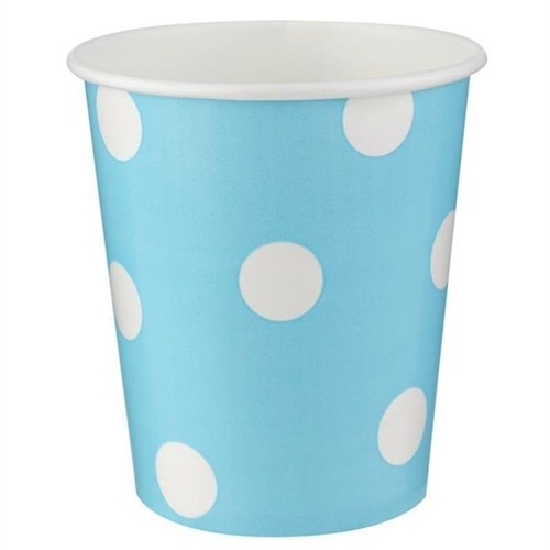 Pandoli 8 Adet Karton Parti Bardağı Mavi Beyaz Puanlı 180 Ml