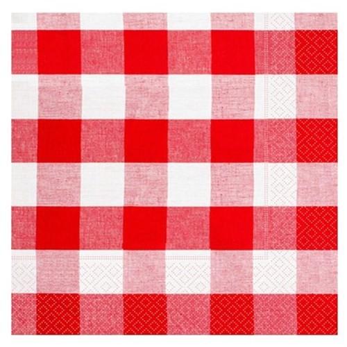 Pandoli Kağıt Parti Peçetesi Kırmızı Kareli 33 Cm 20 Adet
